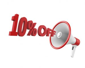 10% discount and man